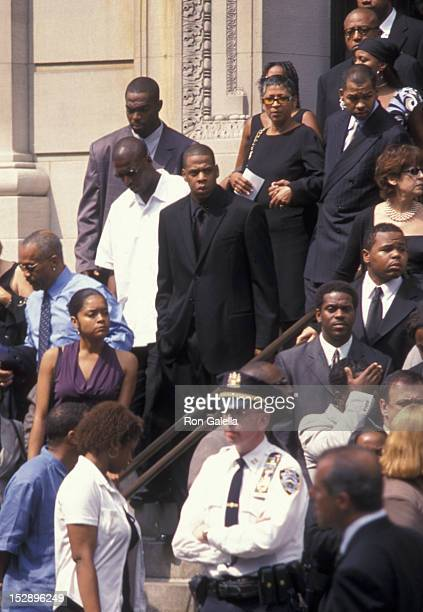 JayZ attends Aaliyah Funeral Service on August 31 2001 at St Ignatius Loyola Roman Catholic Church in New York City
