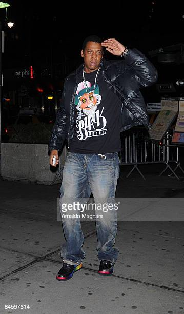 JayZ attends the basketball game between the New York Knicks and Los Angeles Lakers outside Madison Square Garden on February 2 2009 in New York City