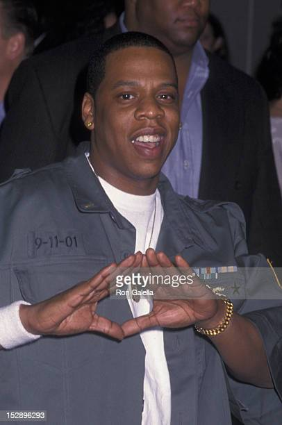 JayZ attends The Concert For New York Benefit Party on October 20 2001 at the Hudson Hotel in New York City