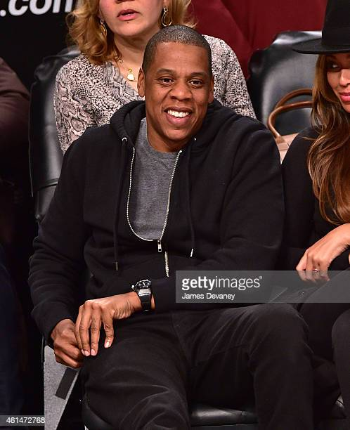 JayZ attends the Houston Rockets vs Brooklyn Nets game at Barclays Center on January 12 2015 in New York City