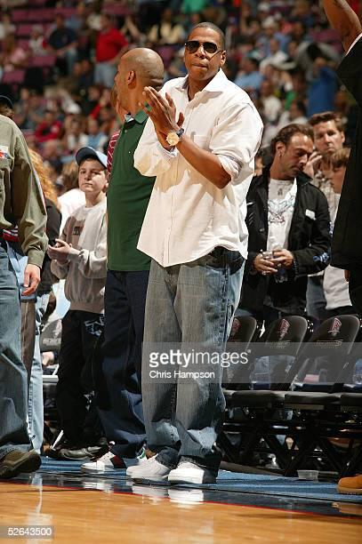Jay-Z attends the Philadelphia 76ers v New Jersey Nets game on April 17, 2005 at the Continental Airlines Arena in East Rutherford, New Jersey. NOTE...