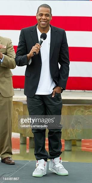 JayZ attends the press conference announcing Budweiser Made in America music festival at Philadelphia Museum of Art on May 14 2012 in Philadelphia...
