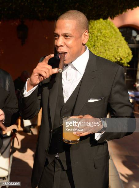 JayZ attends the Roc Nation PreGRAMMY Brunch presented by MAC Viva Glam at Private Residence on January 25 2014 in Beverly Hills California