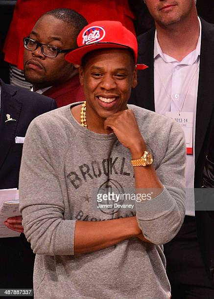 JayZ attends the Toronto Raptors vs Brooklyn Nets game at Barclays Center on May 2 2014 in the Brooklyn borough of New York City