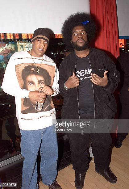JayZ backstage with uestlove of The Roots after 'MTV Unplugged' at the MTV studios in New York City 11/18/01 Photo by Scott Gries/ImageDirect