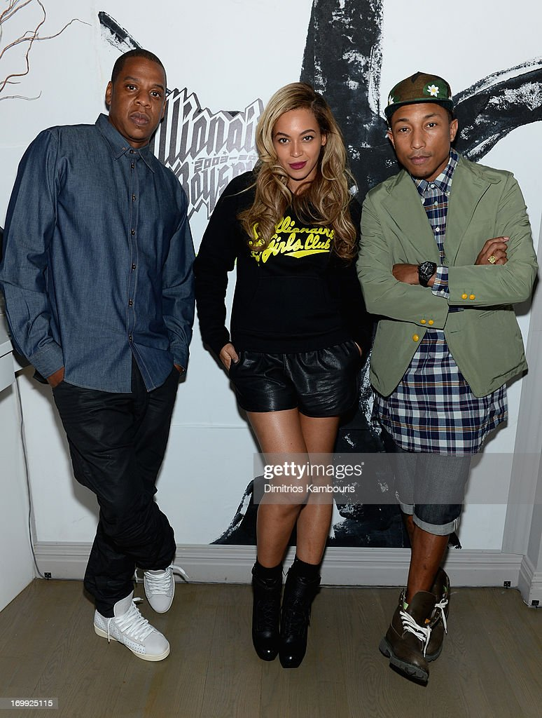 Jay-Z, Beyoncé and Pharrell Williams attend the 10th anniversary party of Billionaire Boys Club presented by HTC at Tribeca Canvas on June 4, 2013 in New York City.