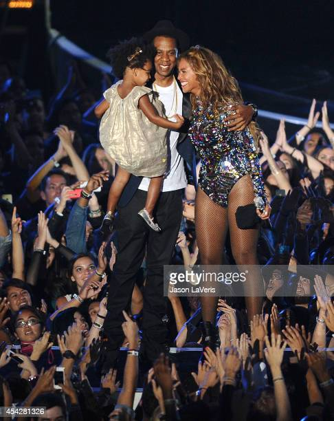 JayZ Beyonce and Blue Ivy Carter onstage at the 2014 MTV Video Music Awards at The Forum on August 24 2014 in Inglewood California