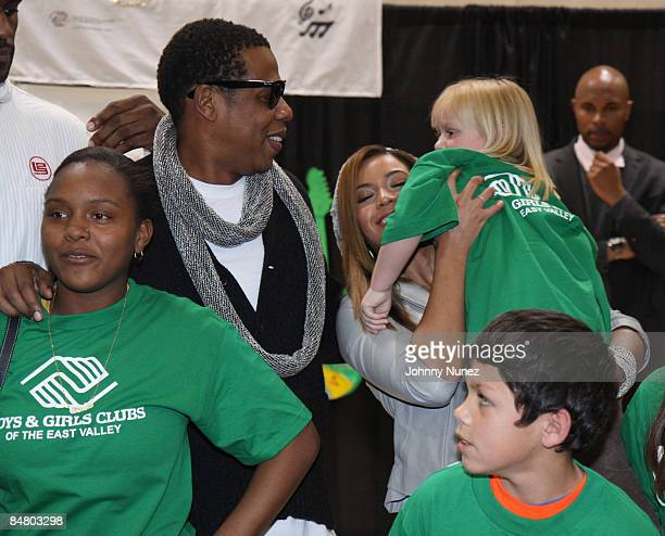 JayZ Beyonce and Boys and Girls Club Children attend the Sprite Green Instrument Donation on February 14 2009 in Mesa Arizona