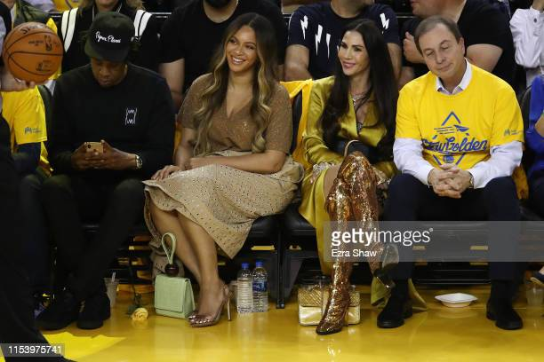 Jay-Z, Beyonce, Nicole Curran and Joseph S. Lacob attend Game Three of the 2019 NBA Finals between the Golden State Warriors and the Toronto Raptors...