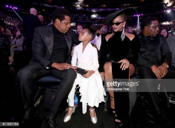Jay-Z, Blue Ivy and Beyonce attend the 60th Annual GRAMMY Awards at Madison Square Garden on January 28, 2018 in New York City.