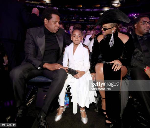 JayZ Blue Ivy and Beyonce attend the 60th Annual GRAMMY Awards at Madison Square Garden on January 28 2018 in New York City