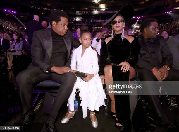 JayZ Blue Ivy and Beyonce Knowles attend the 60th Annual GRAMMY Awards at Madison Square Garden on January 28 2018 in New York City