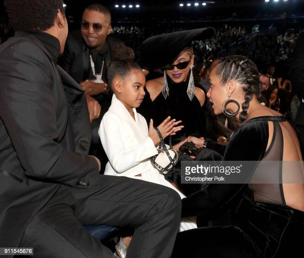 JayZ Blue Ivy Beyonce and Alicia Keys attends the 60th Annual GRAMMY Awards at Madison Square Garden on January 28 2018 in New York City