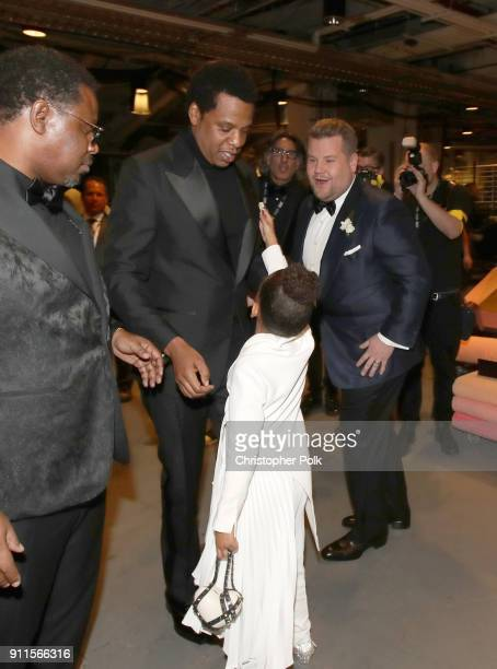 JayZ Blue Ivy Carter and James Corden attend the 60th Annual GRAMMY Awards at Madison Square Garden on January 28 2018 in New York City