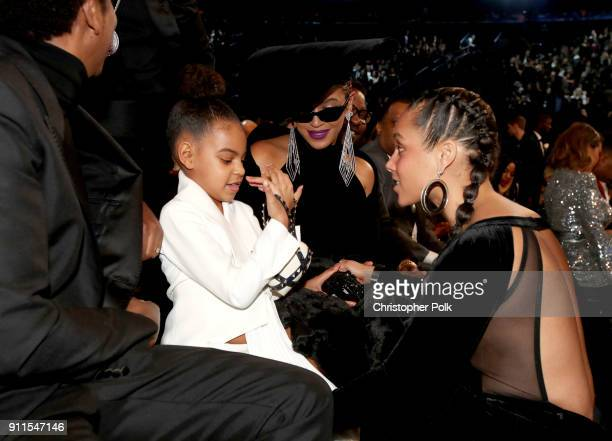 JayZ Blue Ivy Carter Beyonce and Alicia Keys attend the 60th Annual GRAMMY Awards at Madison Square Garden on January 28 2018 in New York City