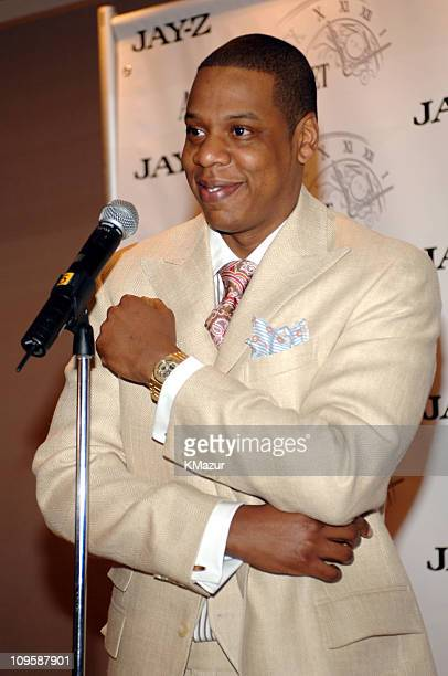 Jay-Z during Audemars Piguet Royal Oak Offshore Jay-Z 10th Anniversary Limited Edition Timepiece Press Conference at Four Seasons Hotel in New York...