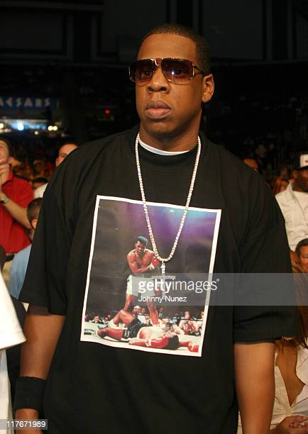 """Jay-Z during Floyd Mayweather Jr. Versus DeMarcus """"Chop Chop"""" Corley - May 22, 2004 at Boardwalk Hall in Atlantic City, New Jersey, United States."""