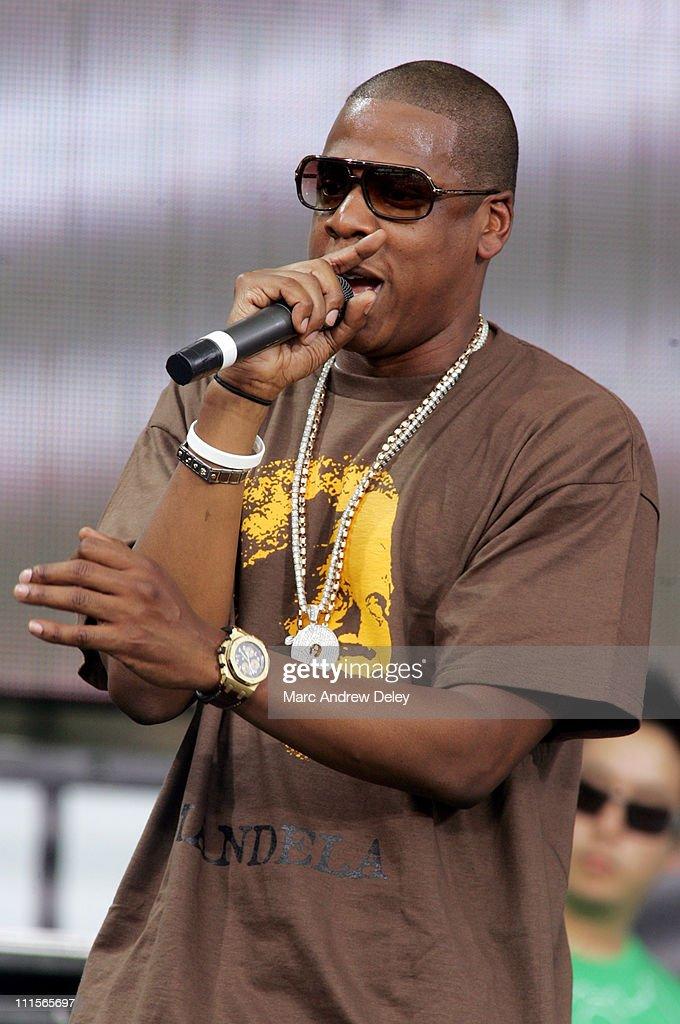 Jay-Z during LIVE 8 - Philadelphia - Show at Philadelphia Museum of Art in Philadelphia, Pennsylvania, United States.