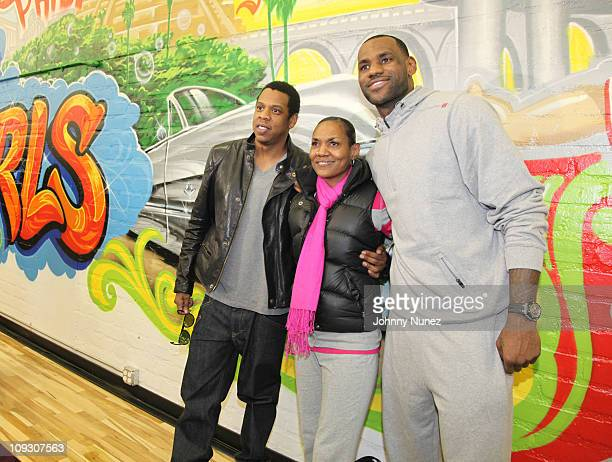 JayZ Gloria James and LeBron James attend the groundbreaking ceremonies for the renovated gymnasium at the Local Boys Girls Club Of LA as part of the...