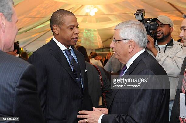 JayZ Investor and Minority Owner of the New Jersey Nets greets NBA Commissioner David Stern prior to the 2008 NBA Draft Lottery at the NBATV Studios...
