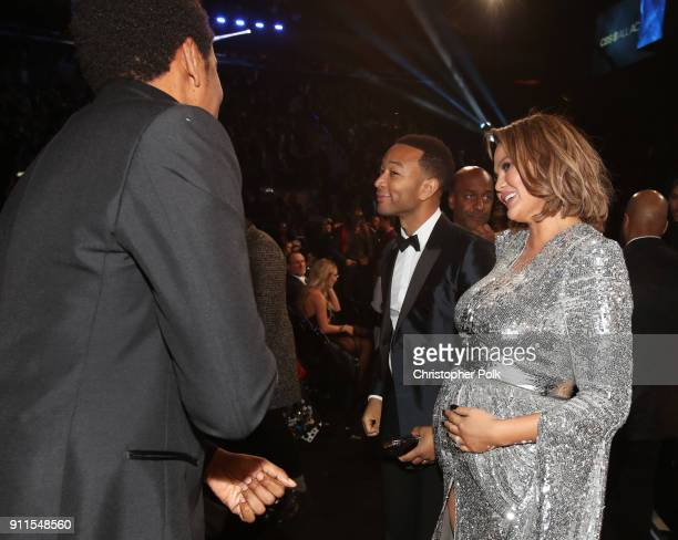 JayZ John Legend and Chrissy Teigen attend the 60th Annual GRAMMY Awards at Madison Square Garden on January 28 2018 in New York City