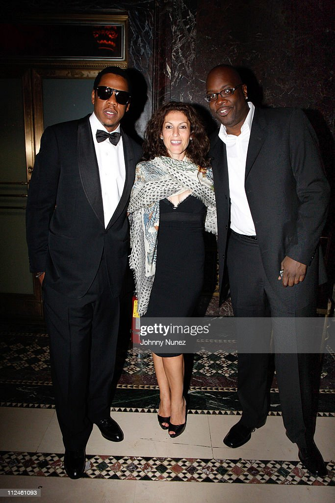 Jay-Z, Julie Greenwald and Mike Kyser attend the 2008 New Yorkers for Children Gala at Cipriani's 42nd Street on September 16, 2008 in New York City, New York.