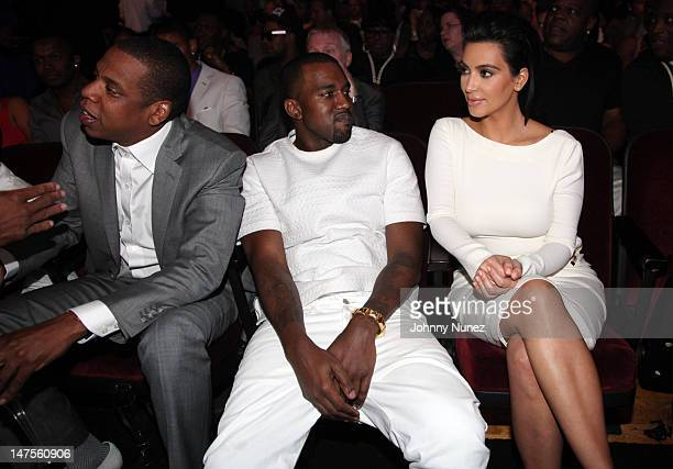 JayZ Kanye West and Kim Kardashian attend the 2012 BET Awards at The Shrine Auditorium on July 1 2012 in Los Angeles California