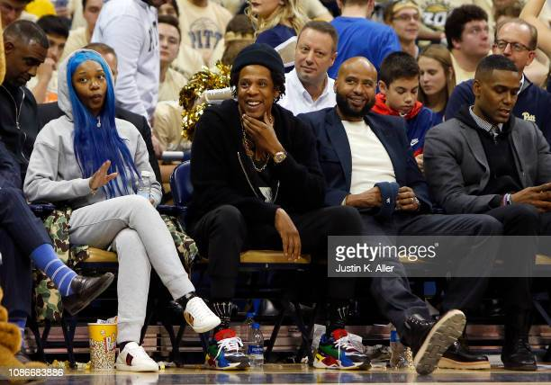 JayZ laughs during the game between the Pittsburgh Panthers and the Duke Blue Devils at Petersen Events Center on January 22 2019 in Pittsburgh...