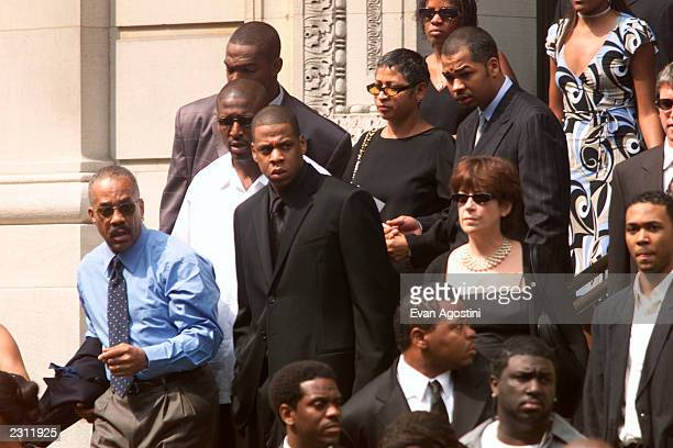 JayZ leaving R B singer Aaliyah's memorial service at St Ignatius Loyola Roman Catholic Church in New York City 8/31/2001 Photo Evan Agostini/Getty...