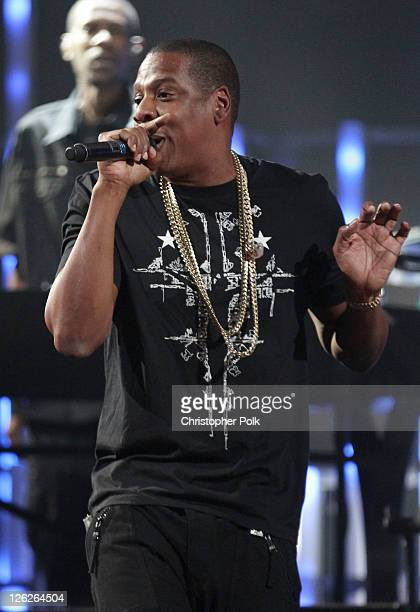 JayZ performs a duet with Alicia Keys onstage at the iHeartRadio Music Festival held at the MGM Grand Garden Arena on September 23 2011 in Las Vegas...