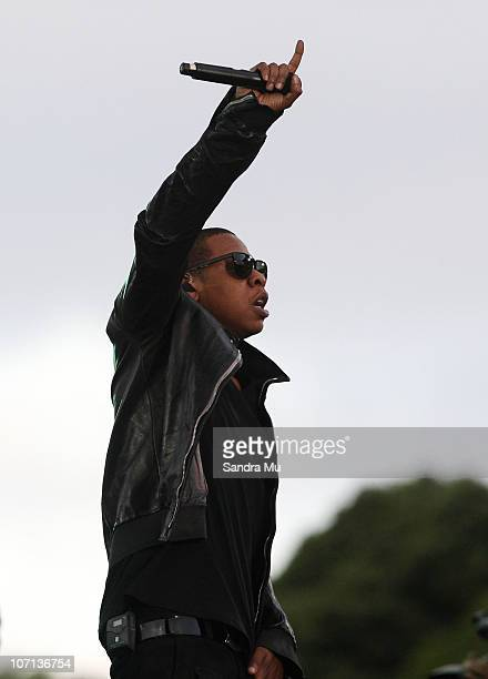 JayZ performs on stage at Mt Smart Stadium on November 25 2010 in Auckland New Zealand