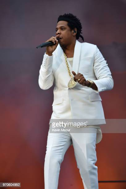 "Jay-Z performs on stage during the ""On the Run II"" Tour with Beyonce at Hampden Park on June 9, 2018 in Glasgow, Scotland."
