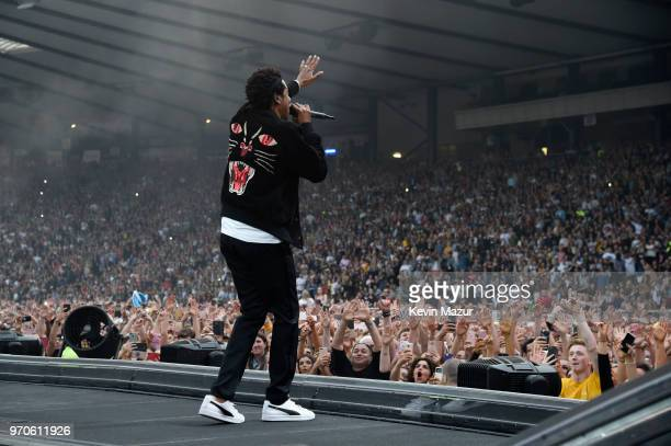 JayZ performs on stage during the On the Run II Tour with Beyonce at Hampden Park on June 9 2018 in Glasgow Scotland