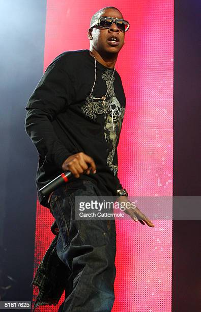JayZ performs on the main stage during day 1 of the O2 Wireless Festival 2008 on July 3 2008 in London England