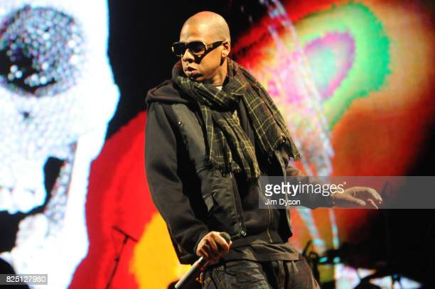 JayZ performs on the Pyramid stage during day two of the Glastonbury Festival at Worthy Farm Pilton on June 28 2008 in Glastonbury Somerset England
