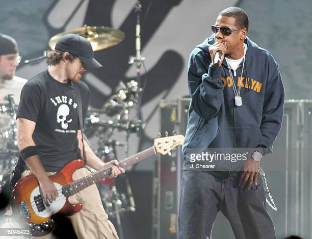 JayZ performs with Dave Phoenix Farrell of Linkin Park