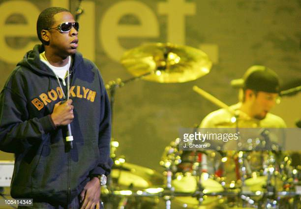 """Jay-Z performs with Linkin Park during All Star """"Music For Relief: Rebuilding South Asia"""" Benefit Concert - Show at Arrowhead Pond in Anaheim,..."""