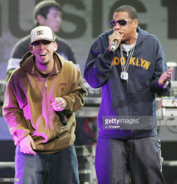 """Jay-Z performs with Mike Shinoda of Linkin Park during All Star """"Music For Relief: Rebuilding South Asia"""" Benefit Concert - Show at Arrowhead Pond in..."""