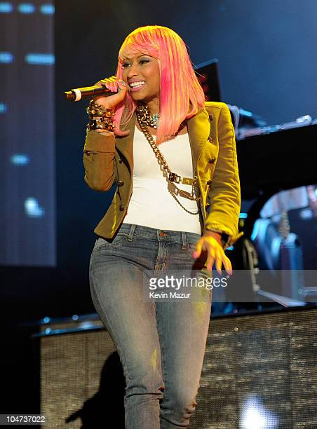 JayZ performs with Nicki Minaj at Yankee Stadium on September 15 2010 in New York City