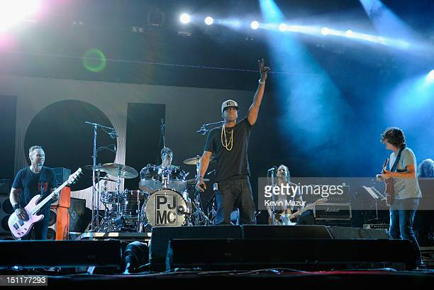 JayZ performs with Pearl Jam during Budweiser Made In America Festival Benefiting The United Way Day 2 at Benjamin Franklin Parkway on September 2...