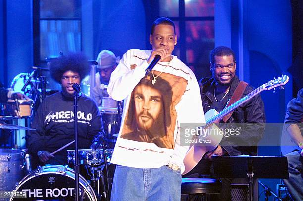 JayZ performs with The Roots on 'MTV Unplugged' at the MTV studios in New York City 11/18/01 Photo by Scott Gries/ImageDirect