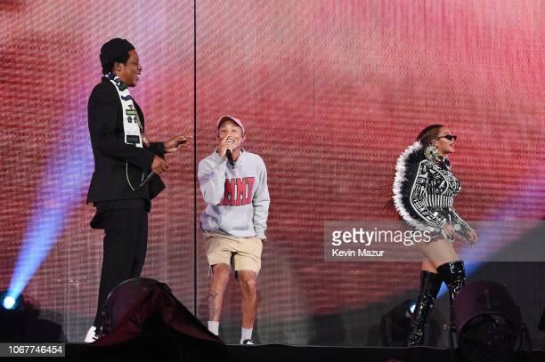 Jay-Z, Pharrell Williams and Beyonce perform during the Global Citizen Festival: Mandela 100 at FNB Stadium on December 2, 2018 in Johannesburg,...