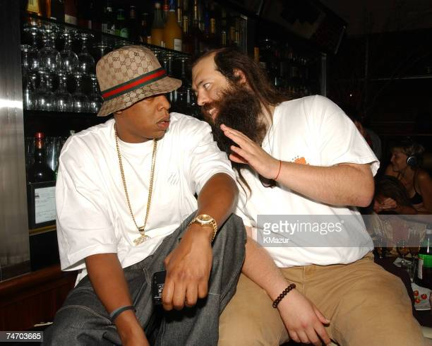 JayZ Rick Rubin during Def Jam Party Lyor Cohen and Russell Simmons Reunite with Def Jam's Original CoFounder Rick Rubin at the B Bar in New York...