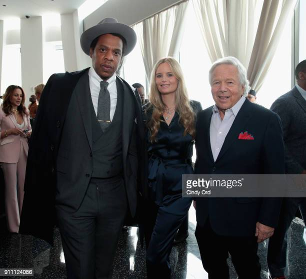 JayZ Ricki Noel Lander and Chief Executive Officer of the New England Patriots Robert Kraft attend Roc Nation THE BRUNCH at One World Observatory on...