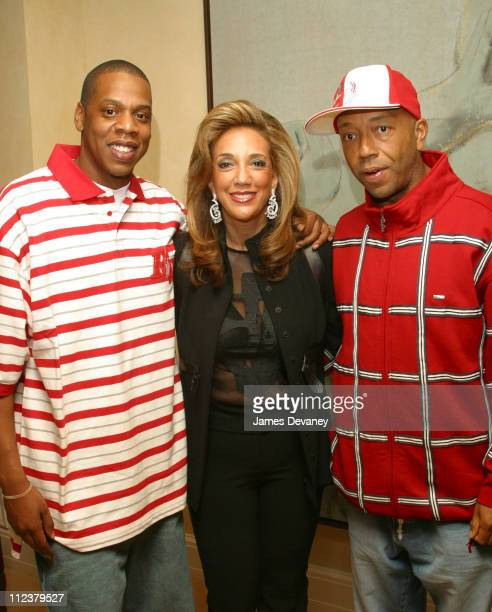 JayZ Russel Simmons and Denise Rich during The Foundation for Ethnic Understanding Honors JayZ and Barry Weiss of Jive Records at Home of Denise Rich...