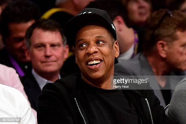 JayZ smiles as he sits courtside as the Los Angeles Lakers take on the Utah Jazz at Staples Center on April 13 2016 in Los Angeles California NOTE TO...