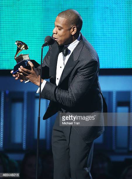 Jay-Z speaks onstage during the 56th GRAMMY Awards held at Staples Center on January 26, 2014 in Los Angeles, California.
