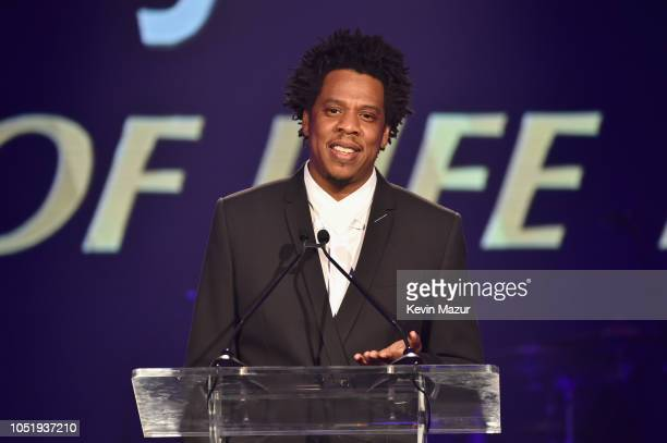 JayZ speaks onstage during the City of Hope Spirit of Life Gala 2018 at Barker Hangar on October 11 2018 in Santa Monica California