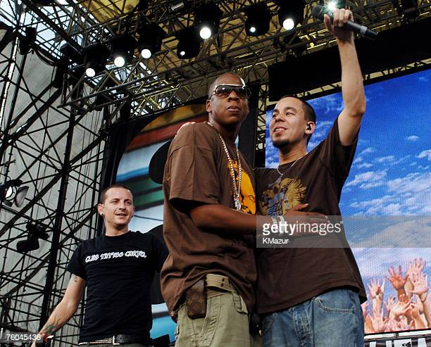 JayZ with Chester Bennington and Mike Shinoda of Linkin Park