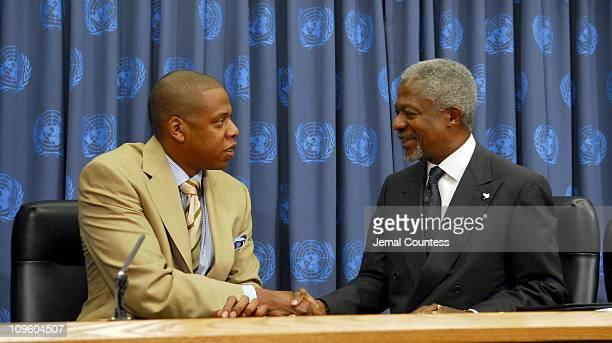 JayZ with United Nations Secretary General Kofi Annan
